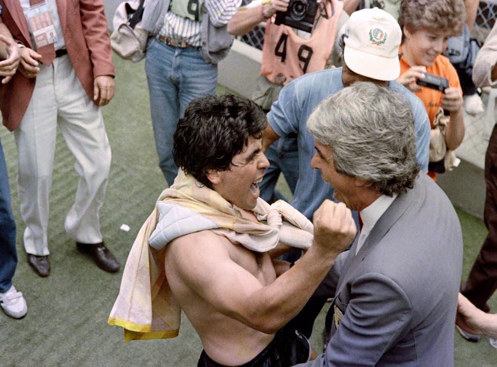 <p>Argentinian forward Diego Maradona celebrates 1986 World Cup win</p>