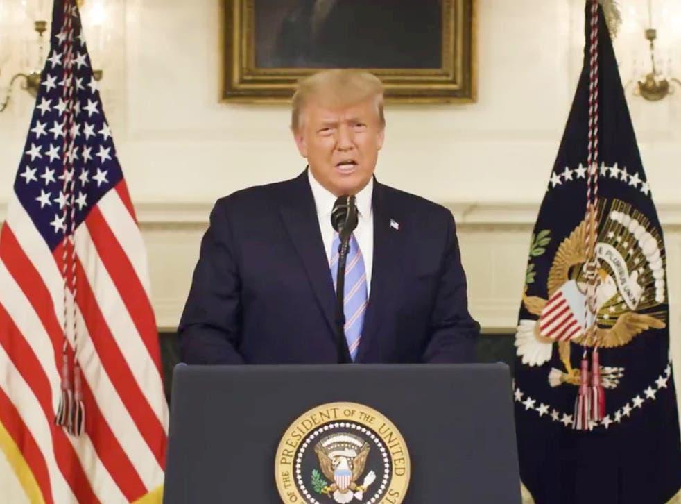 US president Donald Trump speaking on Thursday