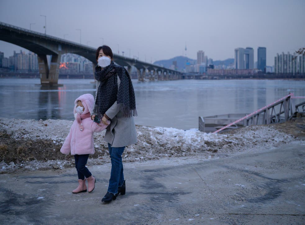 <p>A photo taken on 10 January 2021 shows a woman and child standing before the frozen Han river and Seoul city skyline.</p>