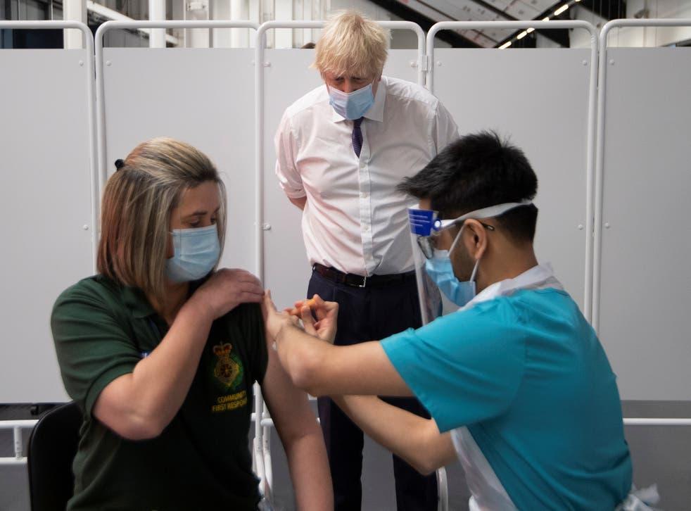 <p>Boris Johnson visits a vaccination centre in Bristol</p>