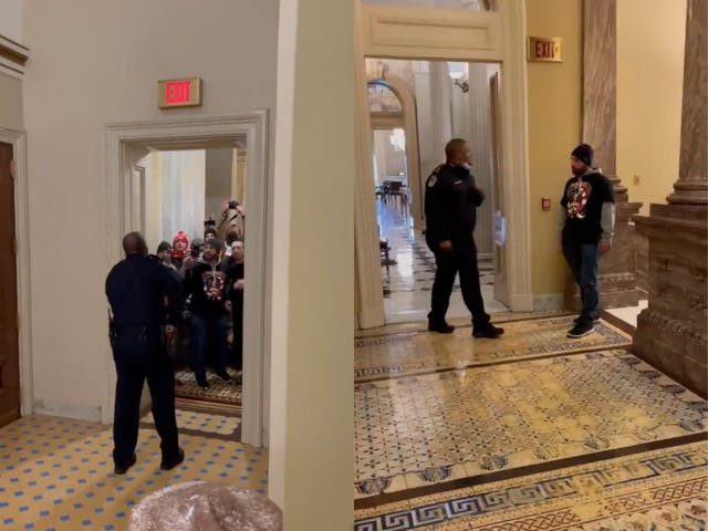 <p>Eugene Goodman aleja a los alborotadores del Capitolio de la cámara del Senado.</p>