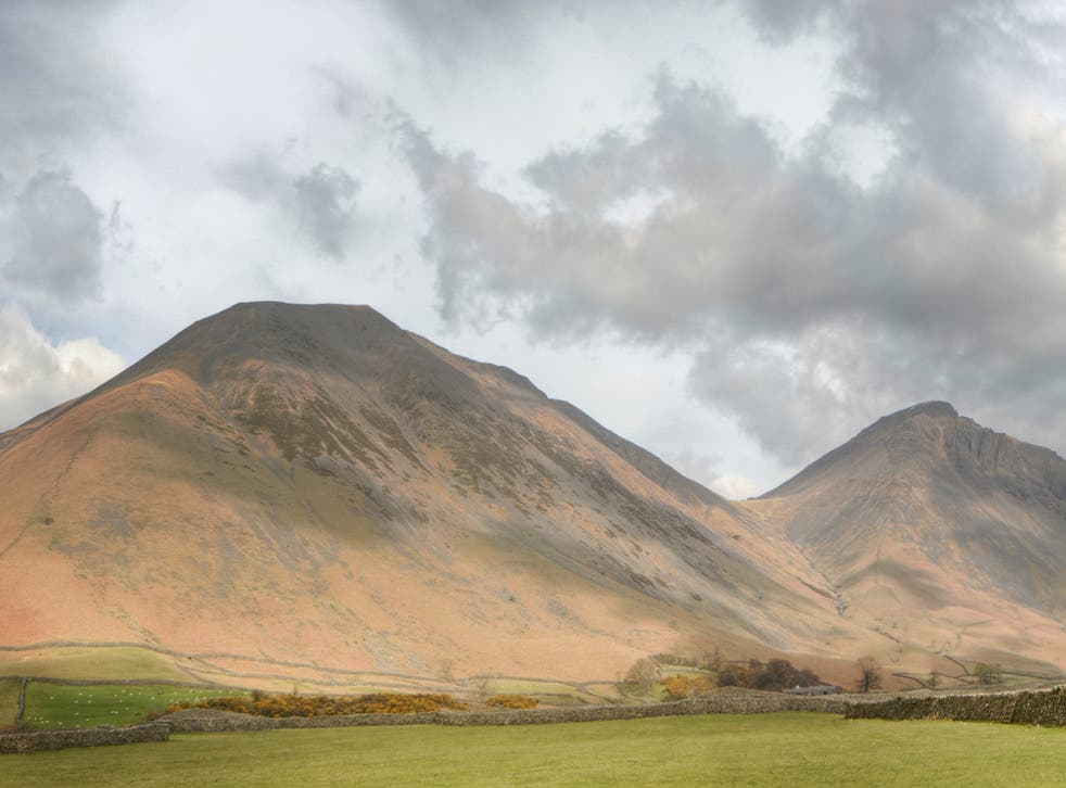 The bare slopes of peaks Kirk Fell (left) and Great Gable, from Wasdale Head, the same area the Countryfile photo was taken