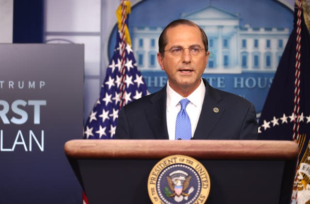 Secretary of Health and Human Services Alex Azar speaks to the press in the Briefing Room at the White House on 20 November, 2020