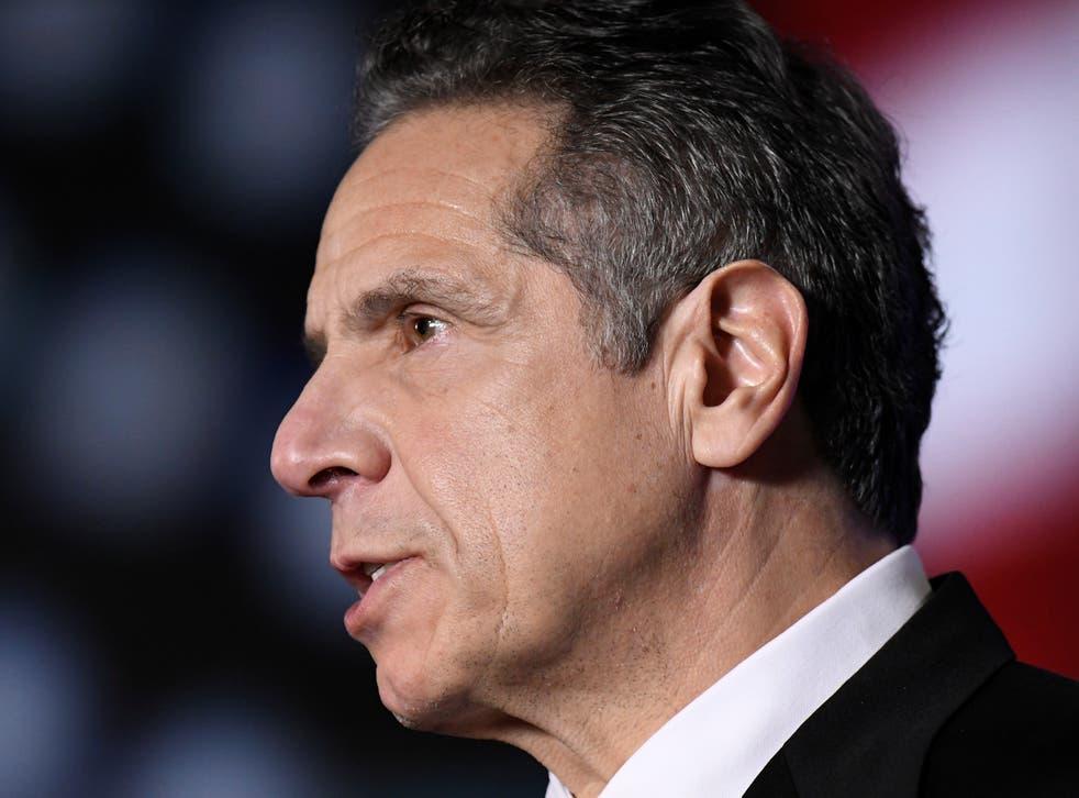 <p>El gobernador de Nueva York, Andrew Cuomo, pronuncia su discurso sobre el estado del estado virtualmente desde The War Room en el Capitolio estatal en Albany, Nueva York, EE. UU. El 11 de enero de 2021.&nbsp;</p>