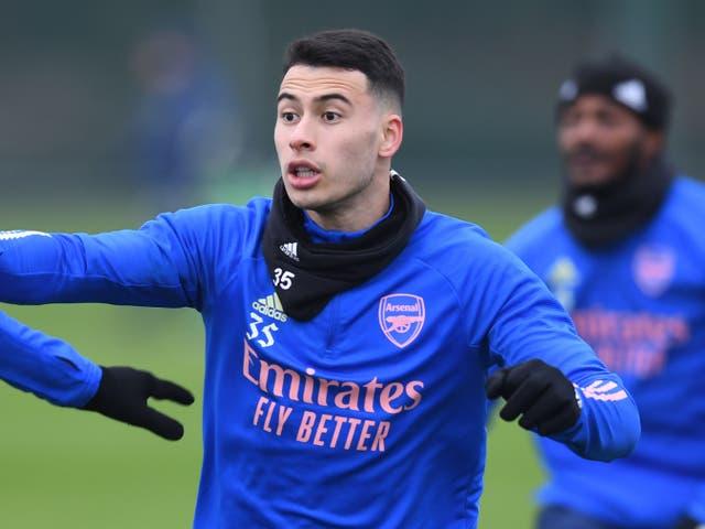 <p>ST ALBANS, INGLATERRA - 8 DE ENERO: Gabriel Martinelli del Arsenal durante una sesión de entrenamiento en London Colney el 8 de enero de 2021 en St Albans, Inglaterra.&nbsp;</p>