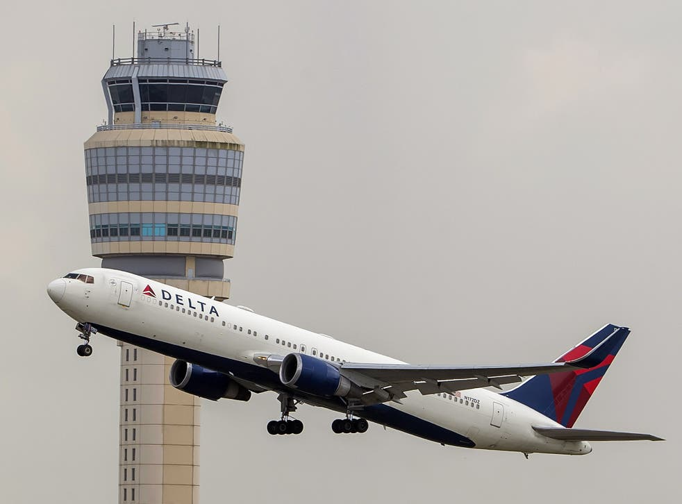 A Delta Air Lines Boeing 767-332 jet (Tail number N172DZ) takes off from Hartsfield-Jackson Atlanta International Airport in Atlanta, Georgia, on 15 July 2020