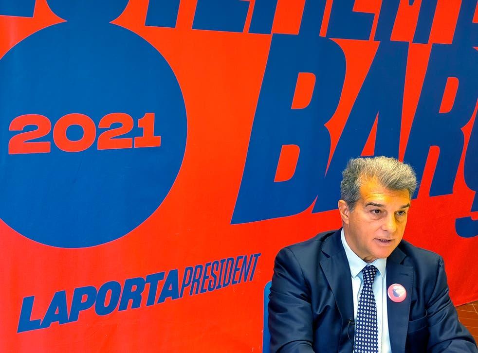 <p>Joan Laporta, expresidente y candidato a la presidencia del club Barcelona, habla en entrevista con The Associated Press en Barcelona, España, el domingo 27 de diciembre de 2020.&nbsp;</p>