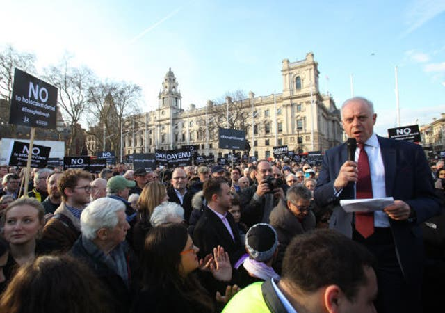 <p>Jonathan Arkush, the then president of the Board of Deputies of British Jews, speaks during a 2018 protest against antisemitism in the Labour Party in Parliament Square, London</p>
