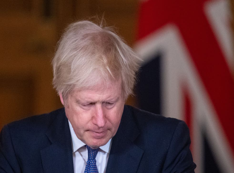 Boris Johnson hosts a virtual press conference on the coronavirus pandemic