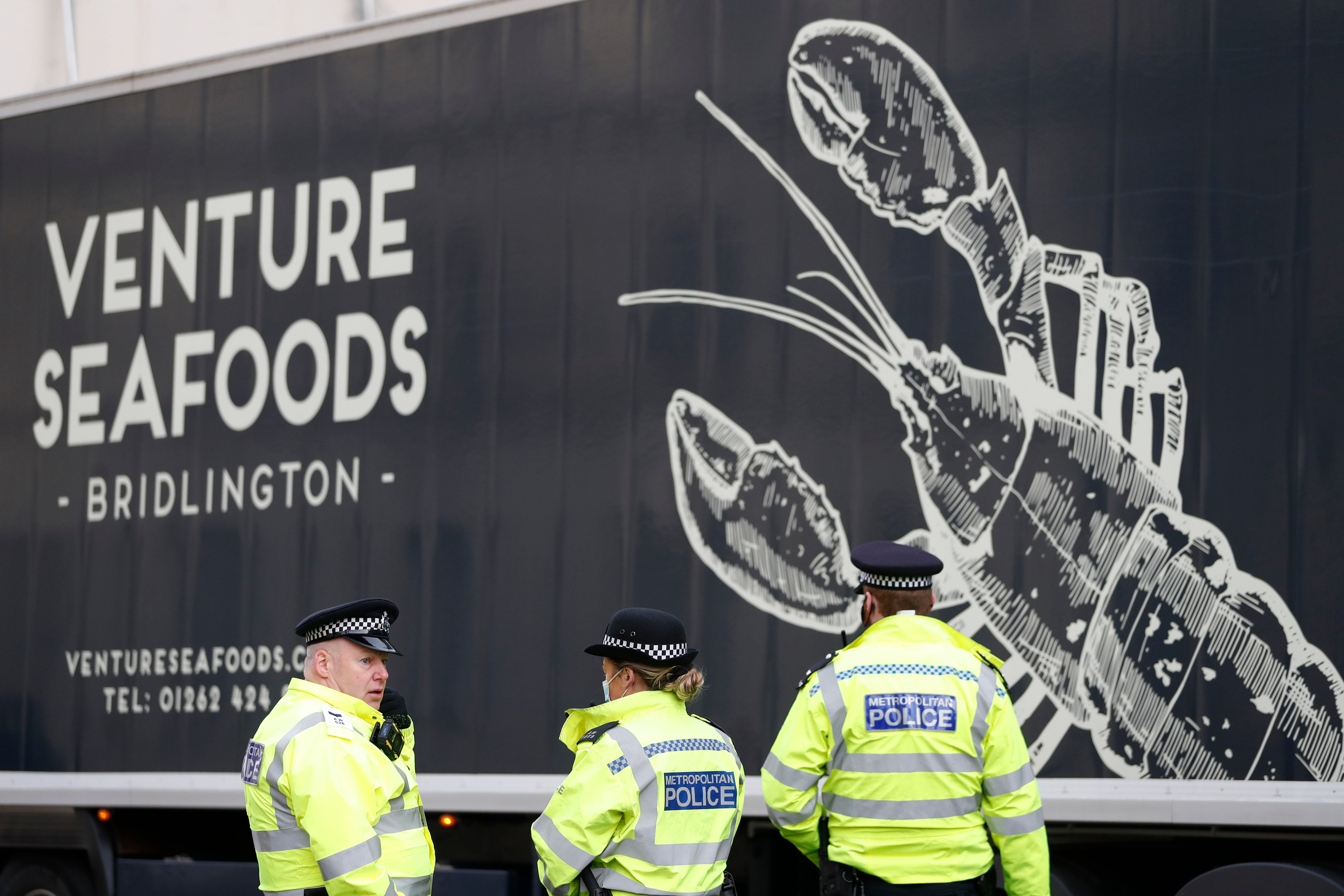 UK seafood trucks protest at Parliament over Brexit red tape AP Boris Johnson Red Tape U.K. Red Tape