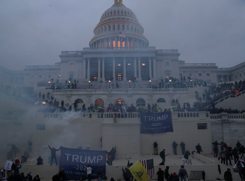 A mob of pro-Trump supporters breach the US Capitol Building in Washington, US, 6 January, 2021