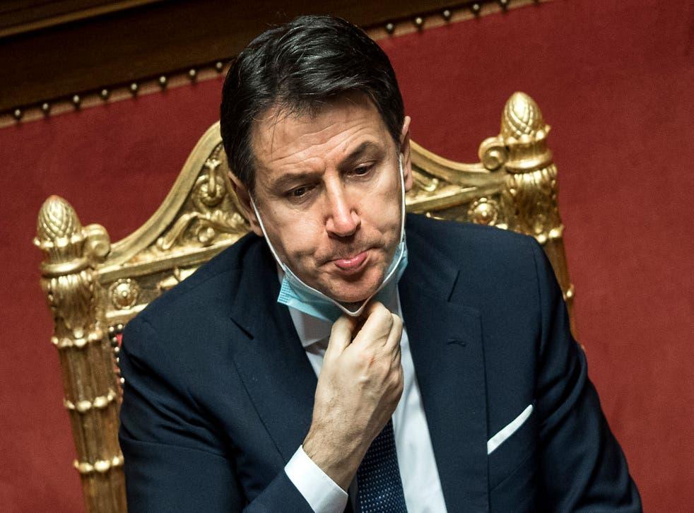 <p>Giuseppe Conte in the Senate prior to a confidence vote last week</p>