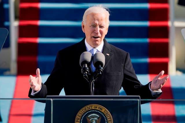 <p>El presidente de los Estados Unidos, Joe Biden, pronuncia su discurso de toma de posesión después de prestar juramento como el 46 ° presidente de los Estados Unidos el 20 de enero de 2021 en el Capitolio de los Estados Unidos en Washington, DC.&nbsp;</p>