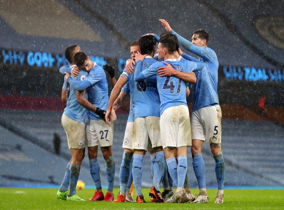 <p>City celebrate after Ilkay Gundogan's penalty</p>
