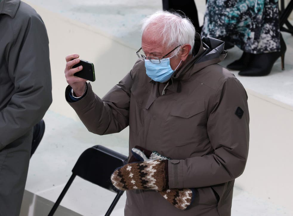 <p>Sen. Bernie Sanders (I-VT) arrives at the inauguration of US President-elect Joe Biden on the West Front of the US Capitol on January 20, 2021 in Washington, DC.</p>