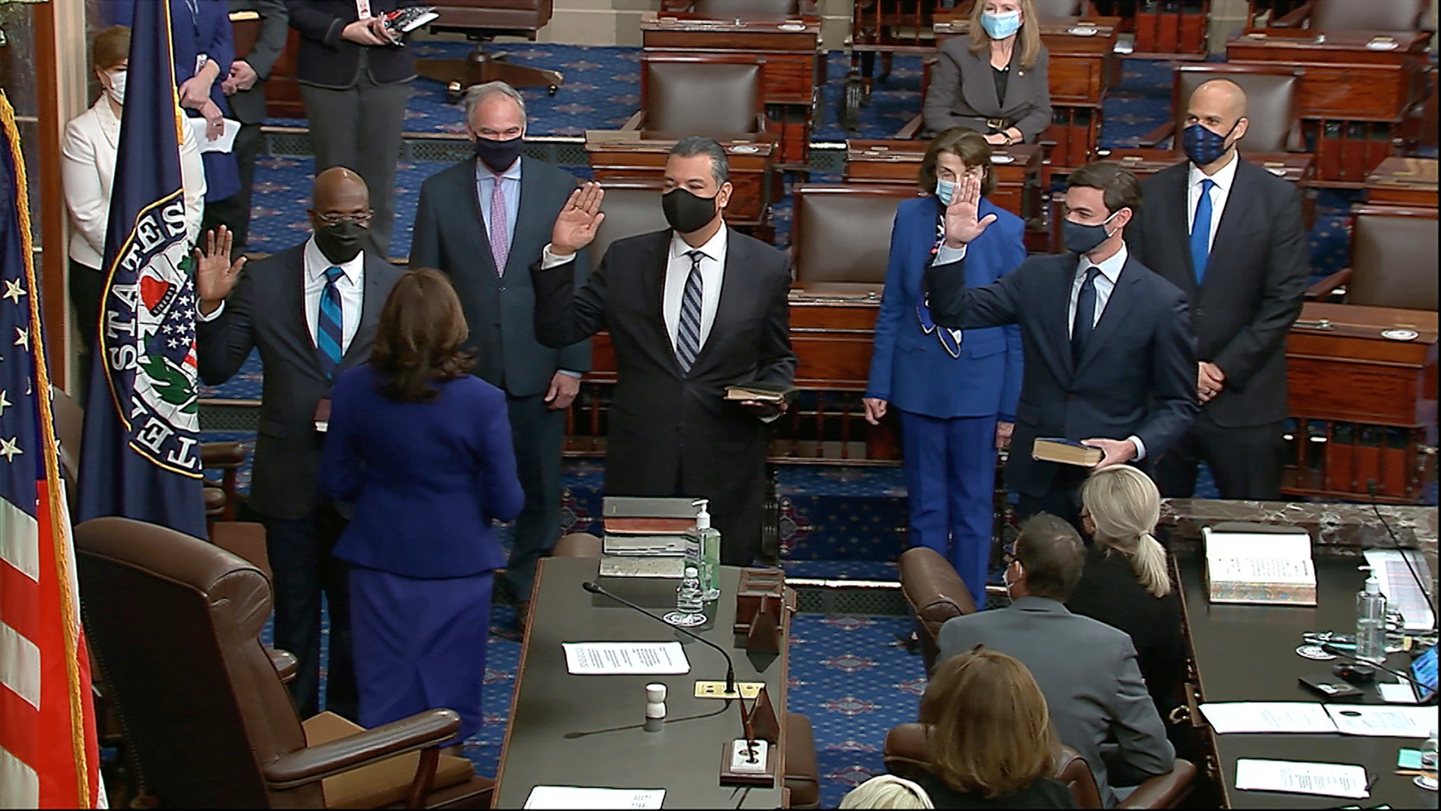 Kamala Harris swears in three senators in first official act as VP as Senate switches to Democratic control