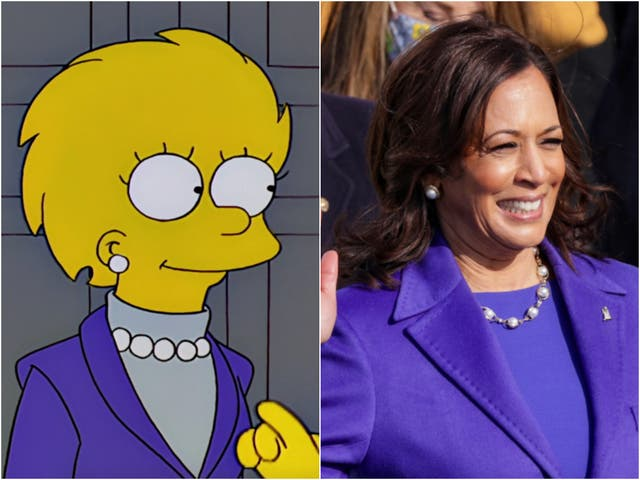 La presidenta Lisa Simpson en el episodio de Los Simpson 'Bart to the Future', y la vicepresidenta Kamala Harris ayer (20 de enero)