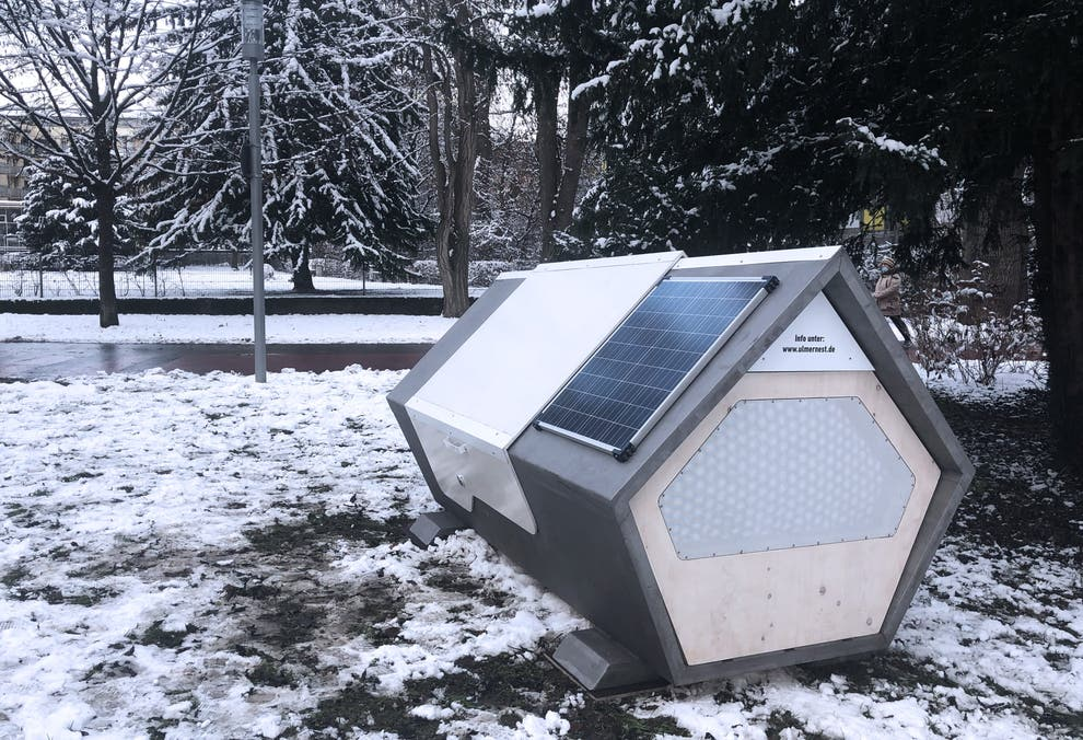 Windproof, Waterproof Sleeping Pods for Homeless People Installed on Streets of German City