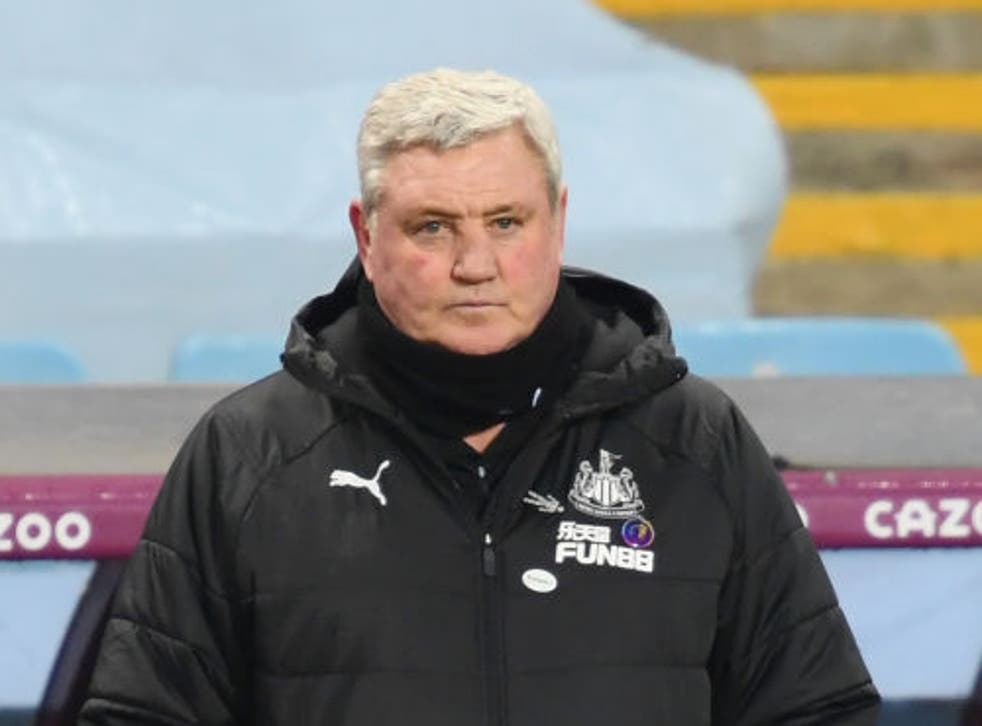 <p>Steve Bruce looks on during the Premier League match at Aston Villa</p>