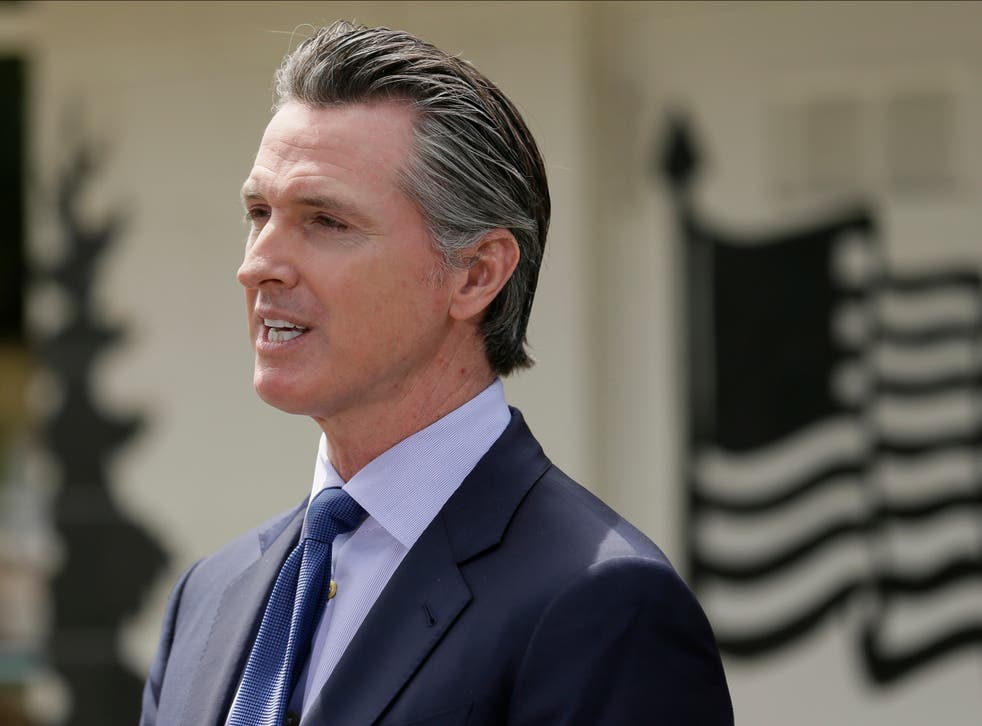 California Gov Gavin Newsom speaks during a news conference at the Veterans Home of California in Yountville, California