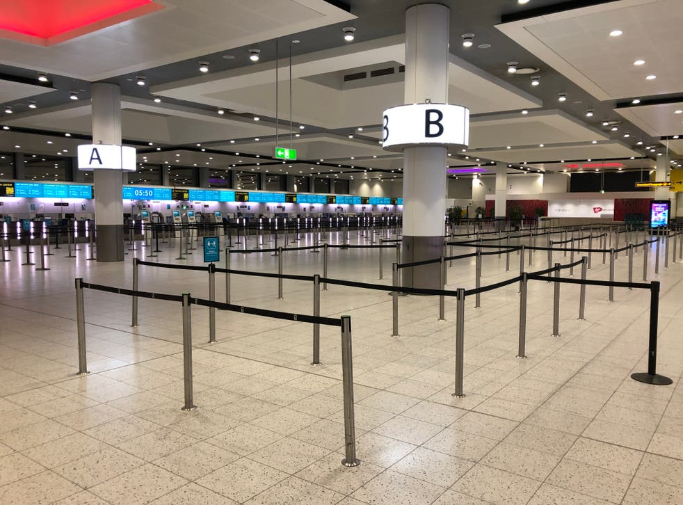 Empty quarter: Gatwick Airport North Terminal, from which no more than 12 flights are set to depart today