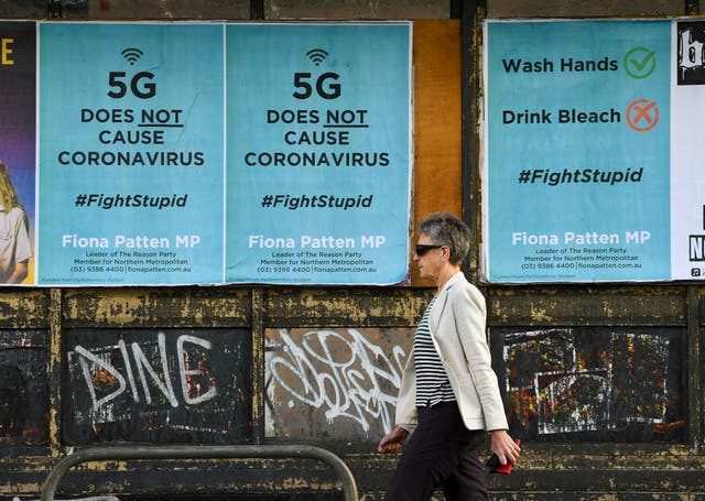 <p>Public service announcement posters in Australia, negating a conspiracy that 5G telecommunications technology causes the coronavirus</p>