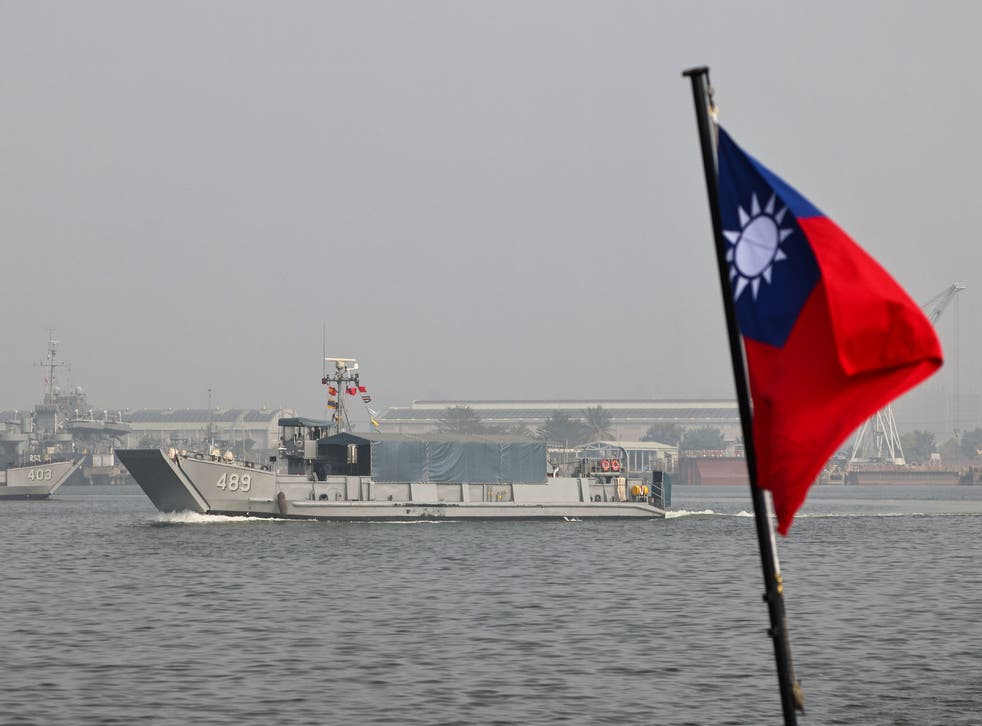 <p>A Taiwan flag is seen during a navy drill ahead of the Lunar New Year</p>