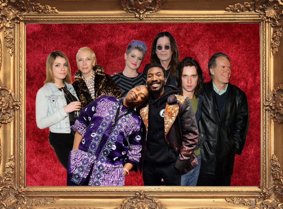 <p>Family portrait: Lola and Annie Lennox (left), Femi and Made Kuti (front), Kelly and Ozzy Osbourne (back), and Rufus and Loudon Wainwright III (right)</p>