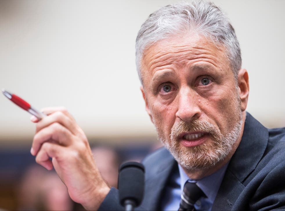 Jon Stewart testifies during a House Judiciary Committee hearing on reauthorization of the September 11th Victim Compensation Fund on Capitol Hill on 11 June 2019