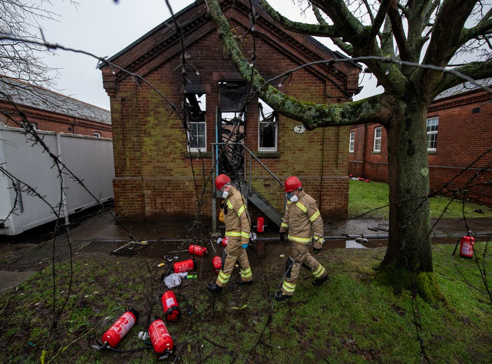 <p>A fire broke out at Napier Barracks on 29 January, months after inspectors found residents were at 'significant risk' due to a lack of fire safety measures</p>