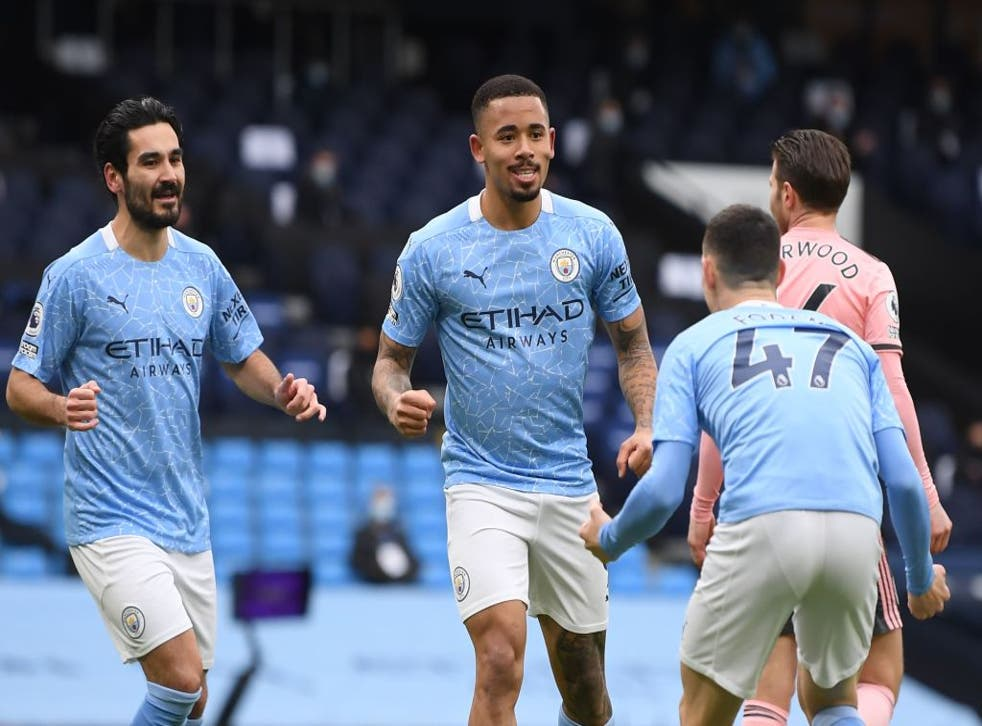 <p>Gabriel Jesus celebrates his early winner against the Blades</p>