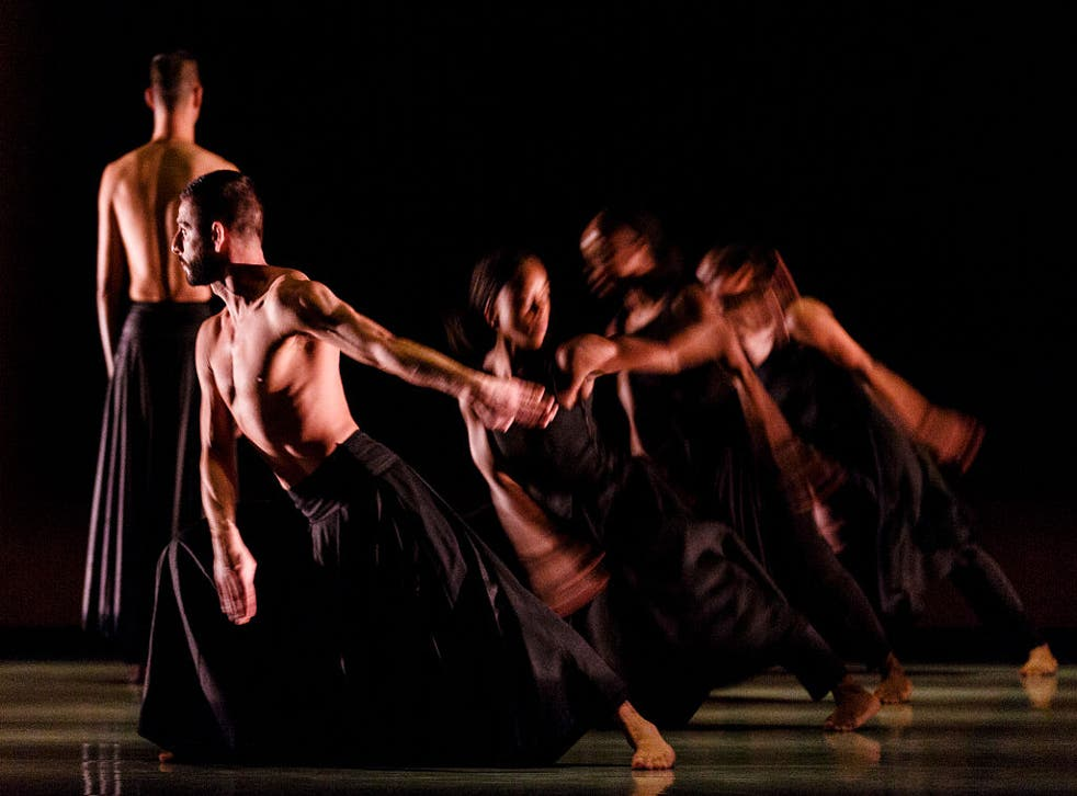 <p>Dancers from the Akram Khan Company perform 'Kaash' at Sadler's Wells</p>