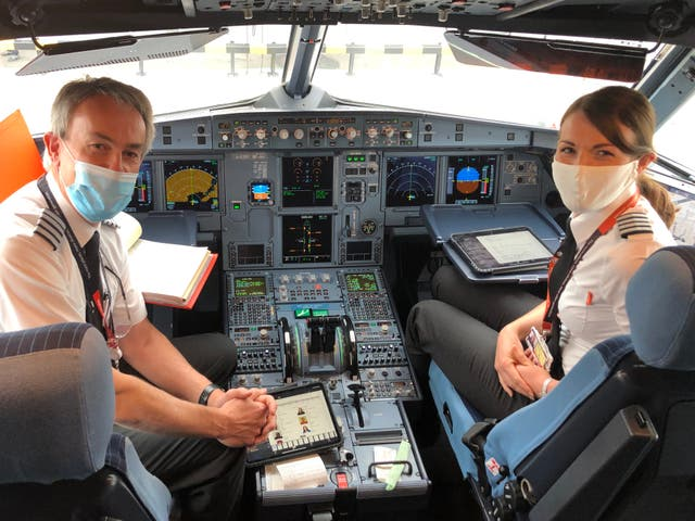 Captains' cabin: the pilots on easyJet's first flight of summer 2020 after touchdown at Glasgow airport