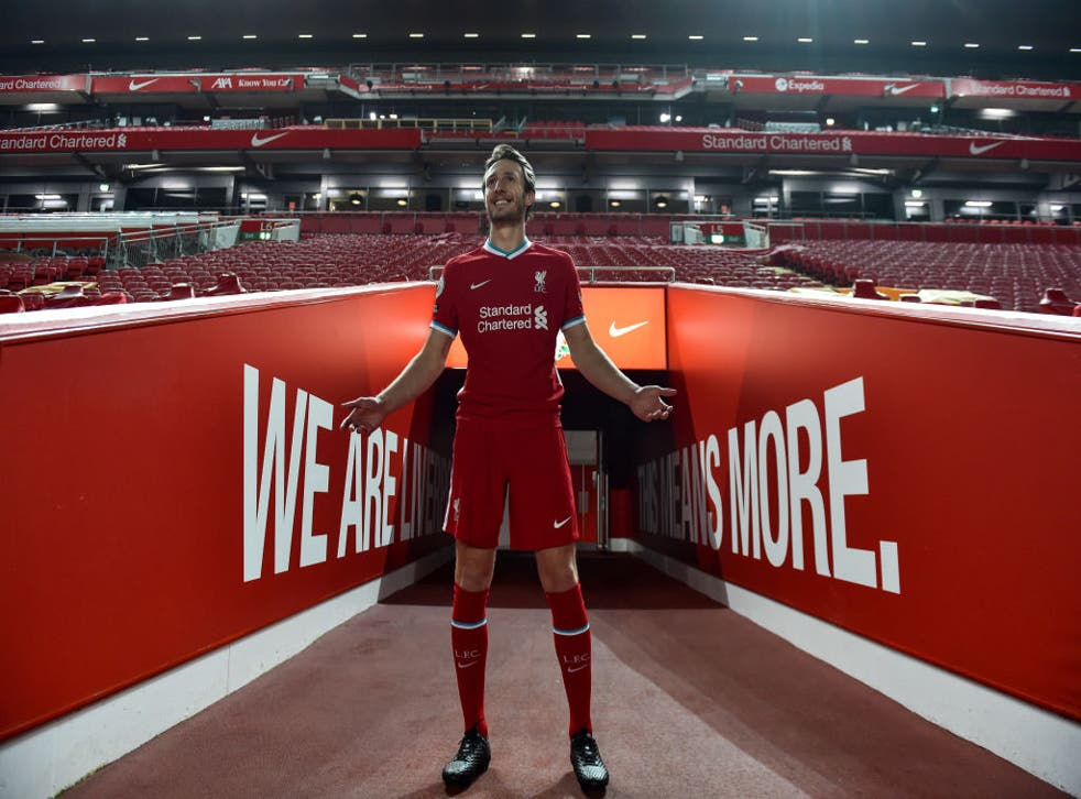 <p>Davies steps out at Anfield after completing his move from Preston</p>