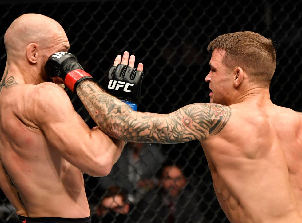 Dustin Poirier (right) knocked out Conor McGregor in their rematch last month