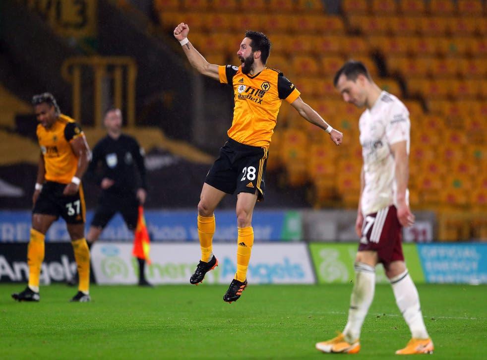 Joao Moutinho celebrates scoring Wolves' winner