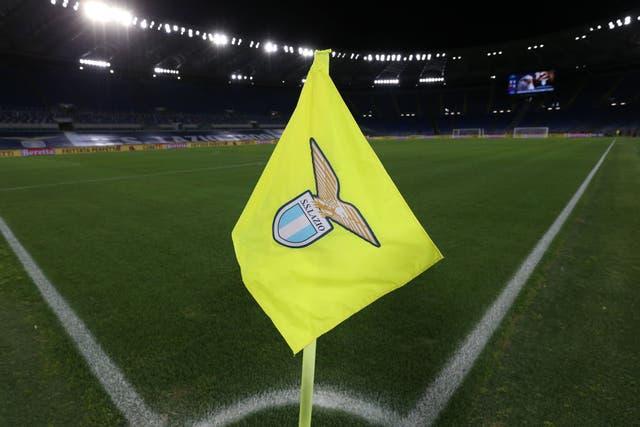Lazio badge on a corner flag in Serie A