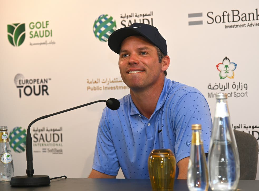 <p>Paul Casey at a press conference in Saudi Arabia</p>