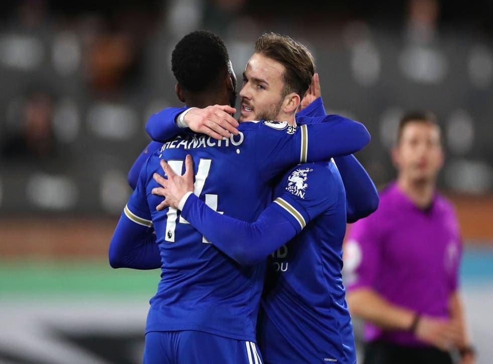 Leicester celebrate scoring against Fulham