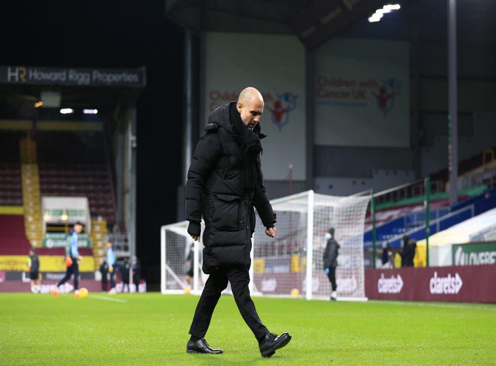 Pep Guardiola walks away after City's win over Burnley