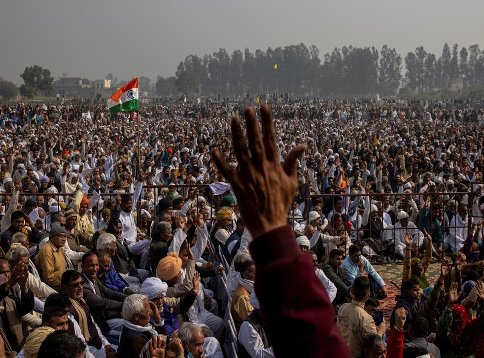 <p>The US state department has backed the 'peaceful farmer protests' but welcomed the controversial new laws that farmers have been protesting against</p>