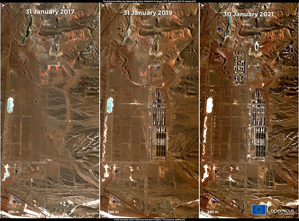 <p>A combination of satellite images released on 1 February by Copernicus, the European Union's Earth observation program, shows detention facility near Dabancheng, Xinjiang region, China. Satellite imagery shows that some of the camps have closed and others have been expanded or converted into prisons, analysts say. </p>