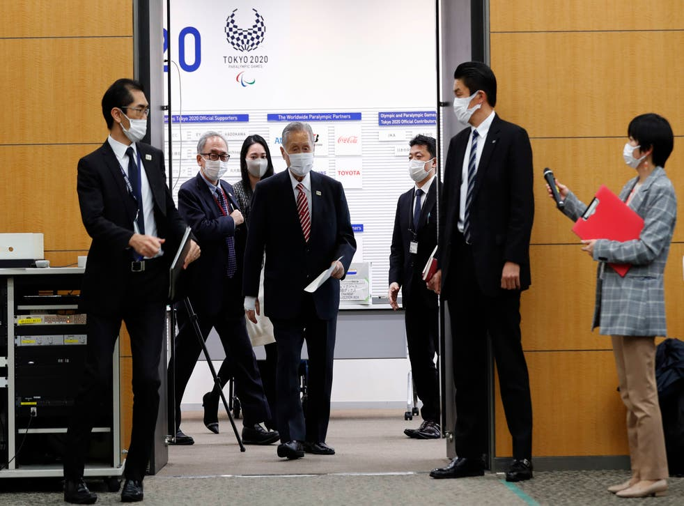 <p>Tokyo Olympics Organizing Committee President Yoshiro Mori arrives at a press conference on February 4, 2021 in Tokyo, Japan. </p>