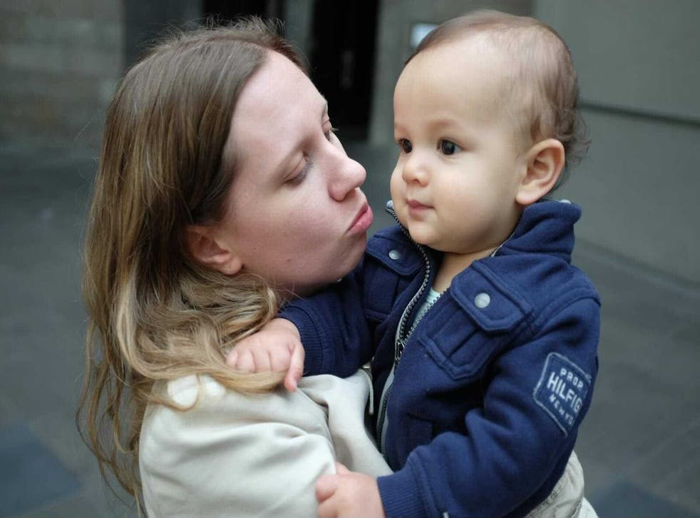 <p>Sarah Copland with her son, Isaac, who was killed in the Beirut explosion six months ago</p>