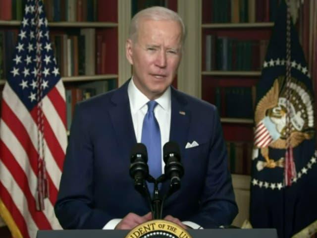 <p>President Joe Biden speaking during the National Prayer Breakfast on 4 February 2021</p>