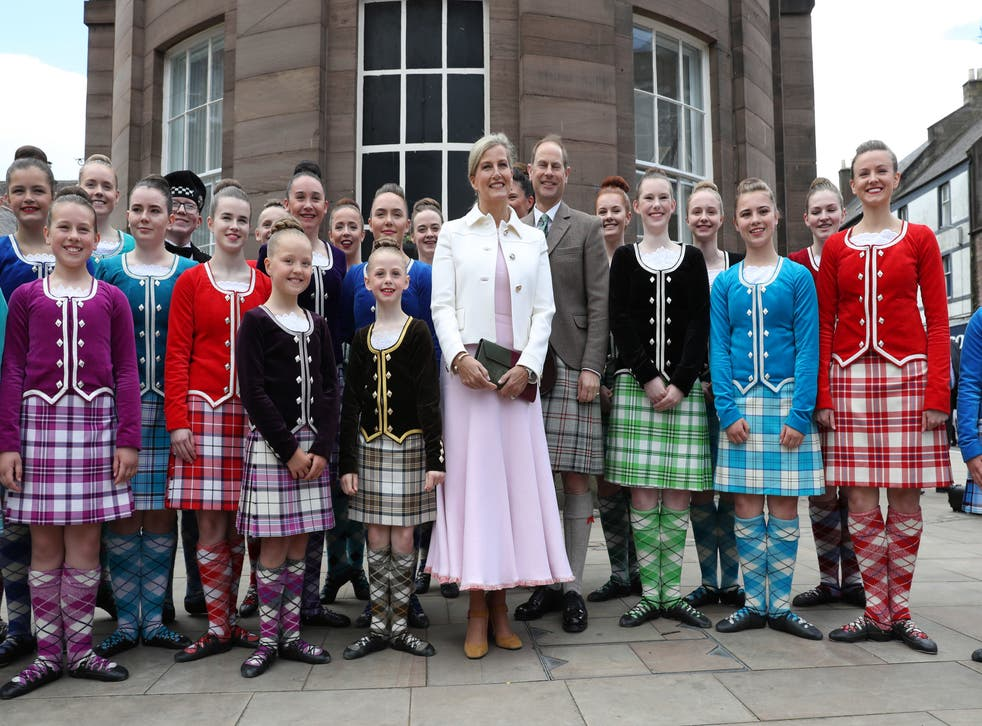 Prince Edward and Sophie Wessex, known in Scotland as the Earl and Countess of Forfar, pictured with highland dancers in Forfar, Angus, in 2019