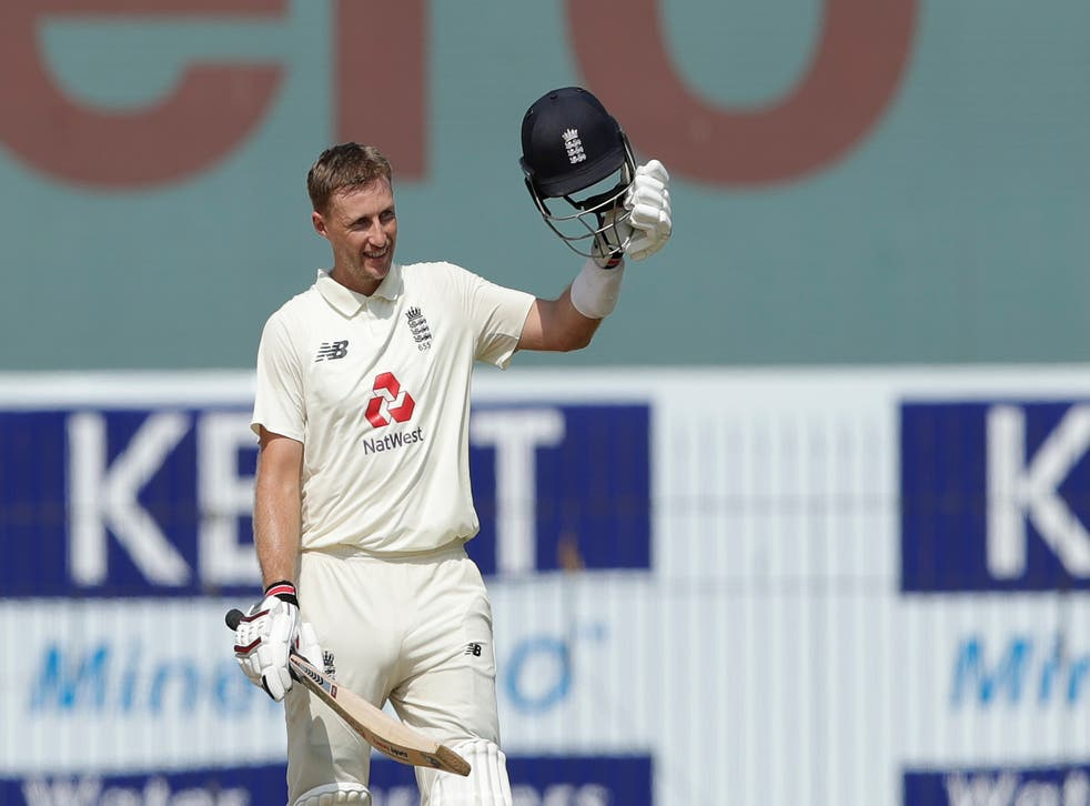 Joe Root celebrates completing his double century on day two