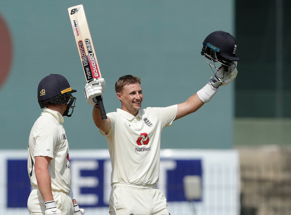 <p>Joe Root celebrates his double hundred</p>