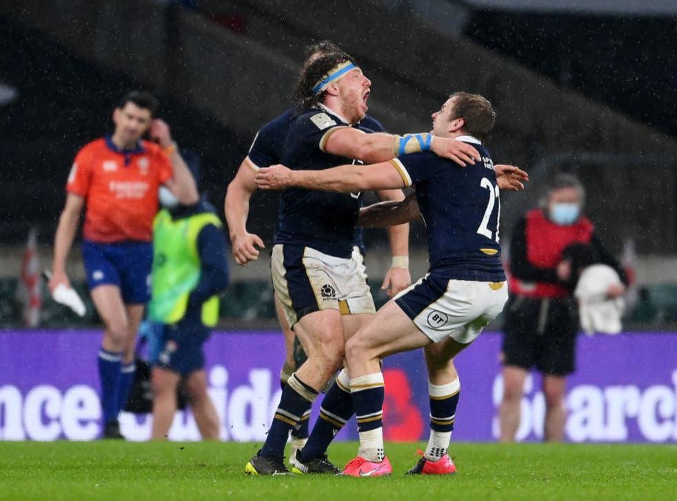 <p>Hamish Watson and Scott Steele of Scotland celebrate</p>