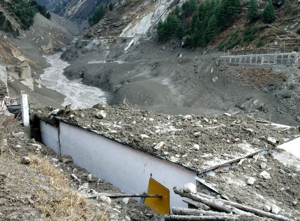Damage after a Himalayan glacier broke and crashed into a dam at Raini Chak Lata village in Chamoli district, in the northern state of Uttarakhand on 7 February